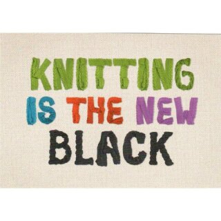Postkarte - Knitting is the new Black